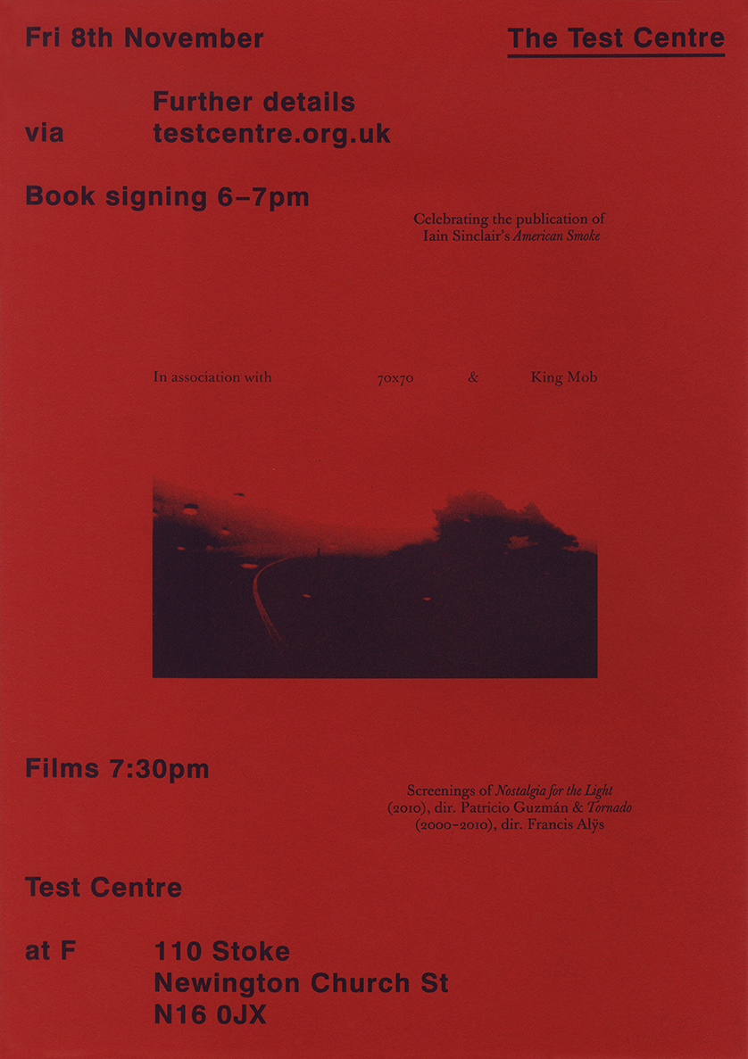 American Smoke by Iain Sinclair launch poster