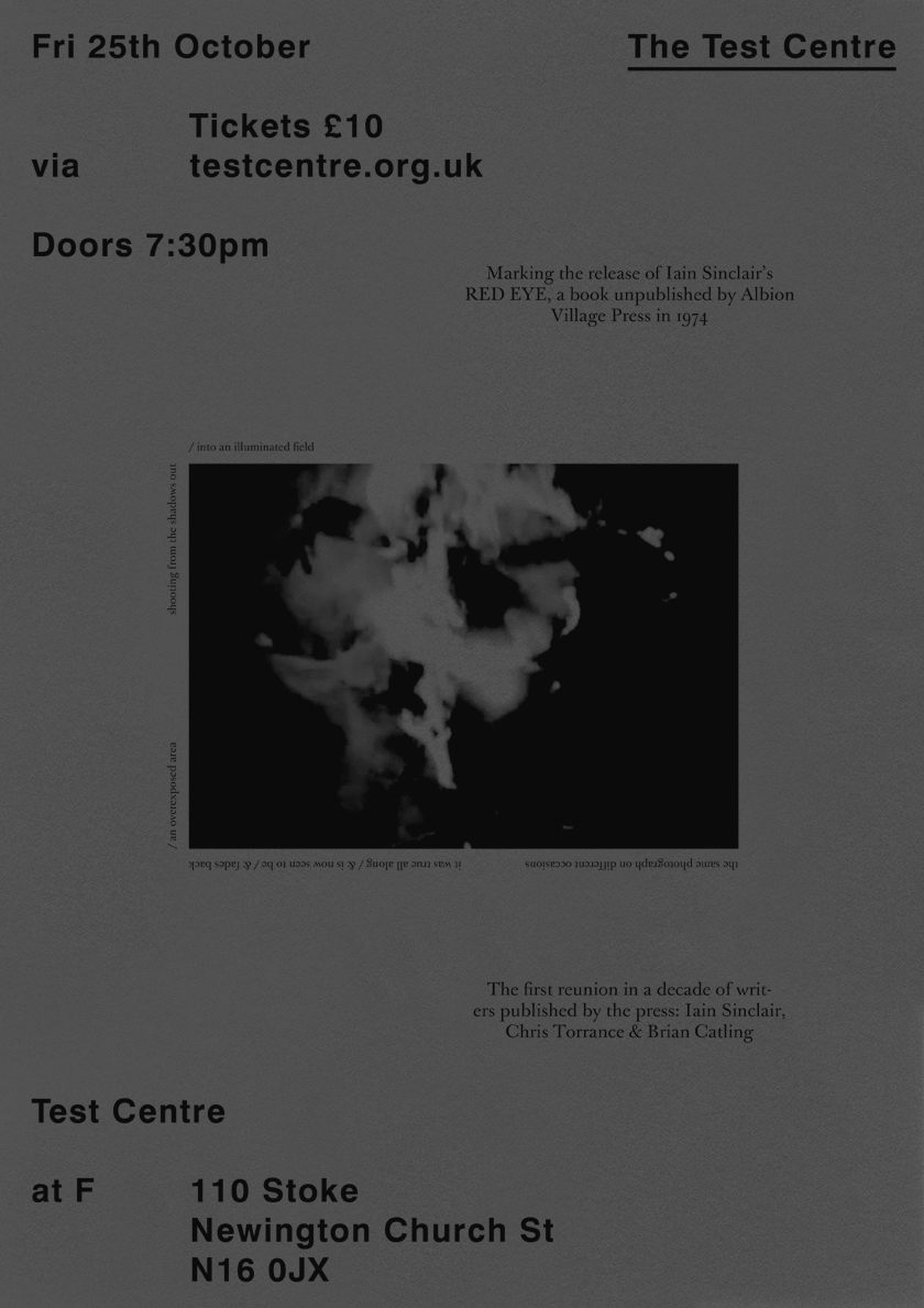 Launch of RED EYE by Iain Sinclair launch poster