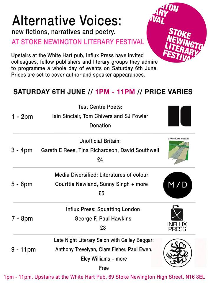 Alternative Voices at Stoke Newington Literary Festival flyer
