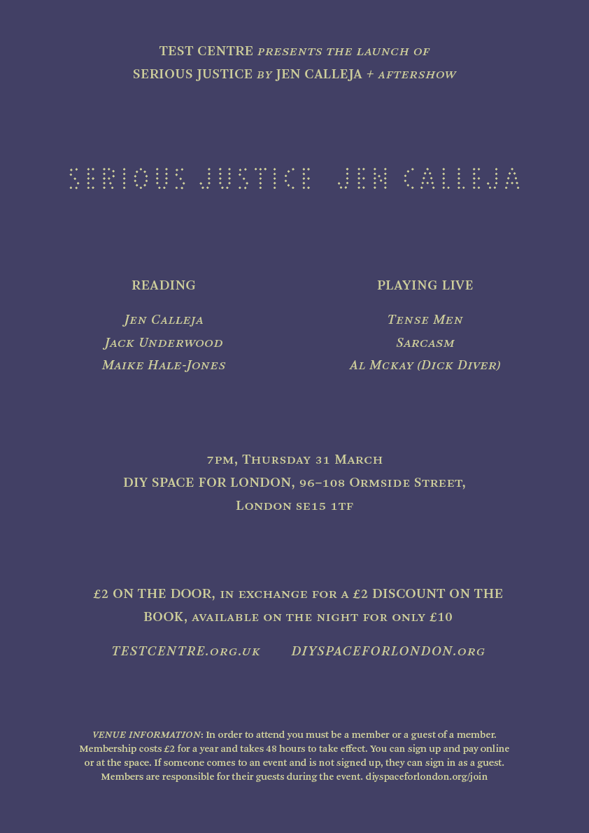 Serious Justice launch poster