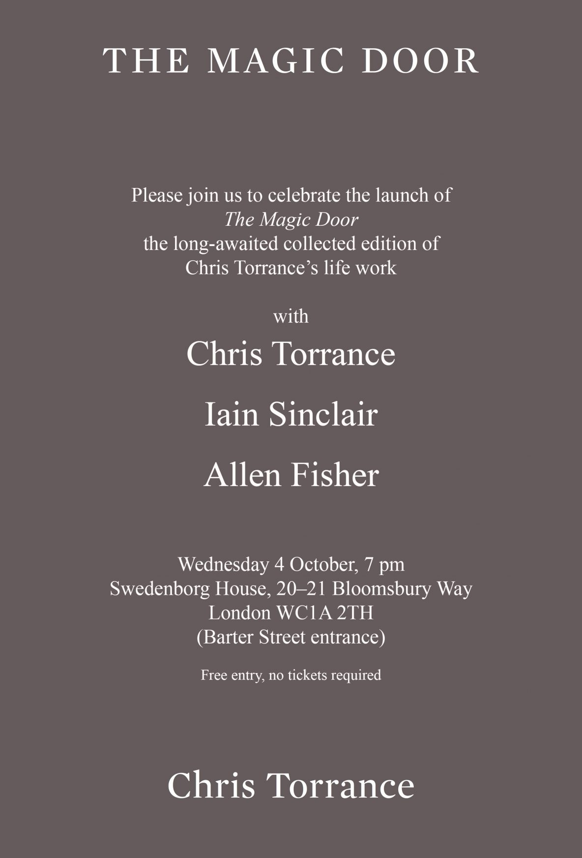 Chris Torrance The Magic Door London launch flyer